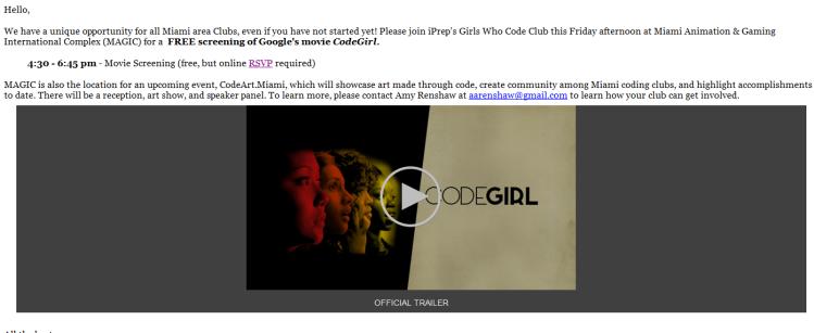 CodeGirl Movie RSVP
