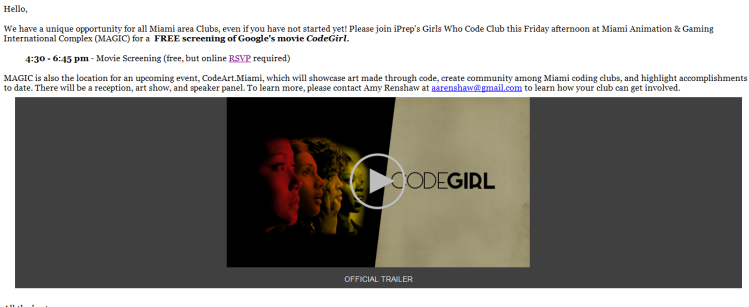 CodeGirl Movie RSVP