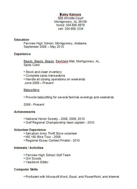 High School Resume Ex2