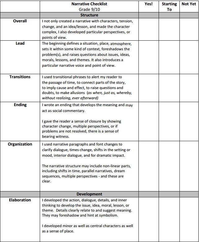 Narrative Checklist p1